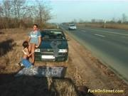 Трахает прямо на дороге