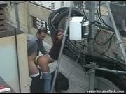 Скрытая камера сняла секс на крыше